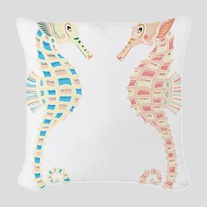 Seahorses Woven Throw Pillow