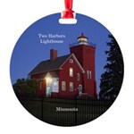Two Harbors Lighthouse At Dusk Round Ornament