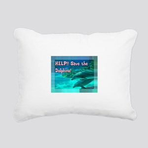 Save the Dolphins! Rectangular Canvas Pillow