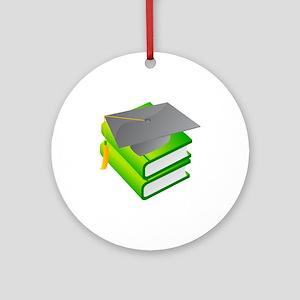 School Book Graduation Cap Ornament (Round)