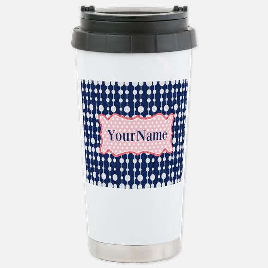 Navy Blue and Pink Polk Stainless Steel Travel Mug