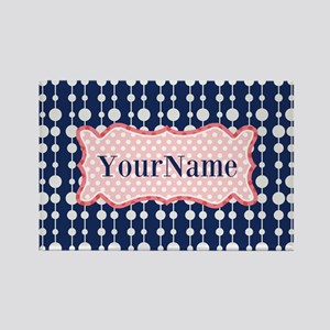 Navy Blue and Pink Polka Dots Mon Rectangle Magnet