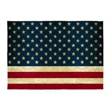 Tea-stained Antiqued American Flag 5'x7'Area Rug
