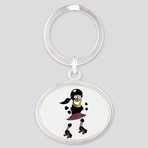 Roller Derby Pickle Oval Keychain