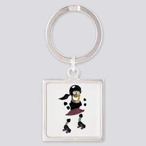 Roller Derby Pickle Square Keychain