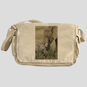 Momma and Baby Elephant Messenger Bag