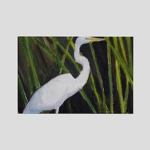 White Egret in Marsh Heron Wading Bird Magnets