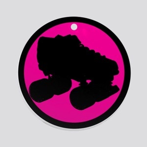 Pink Circle Skate Ornament (Round)
