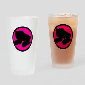 Pink Circle Skate Drinking Glass
