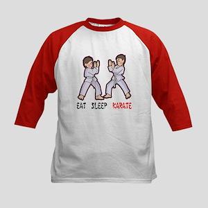 Eat Sleep Karate Kids Baseball Jersey