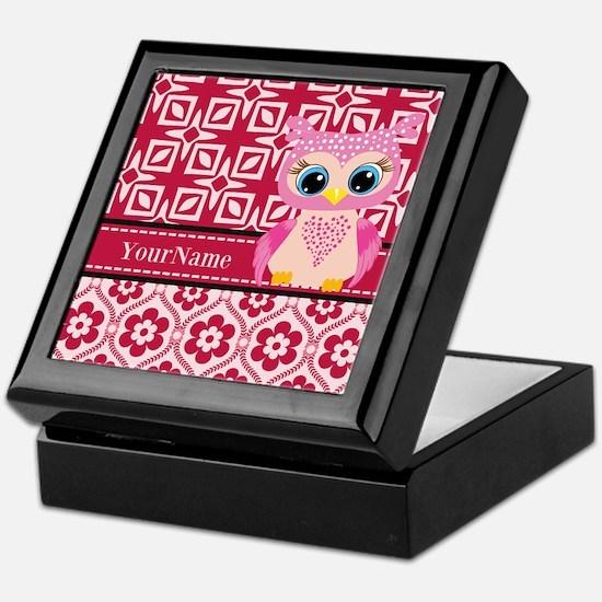 Cute Pink Owl Personalized Keepsake Box