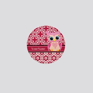 Cute Pink Owl Personalized Mini Button