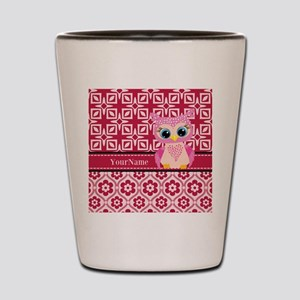 Cute Pink Owl Personalized Shot Glass
