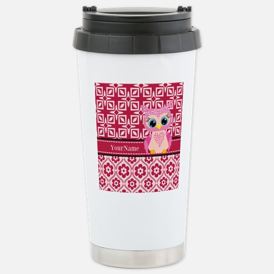 Cute Pink Owl Personali Stainless Steel Travel Mug