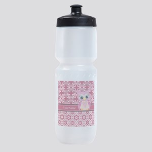Cute Pink Owl Personalized Sports Bottle