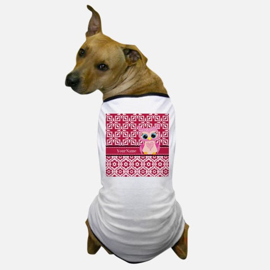 Cute Pink Owl Personalized Dog T-Shirt