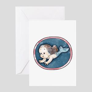 mermaid-womb-brnet-T Greeting Cards