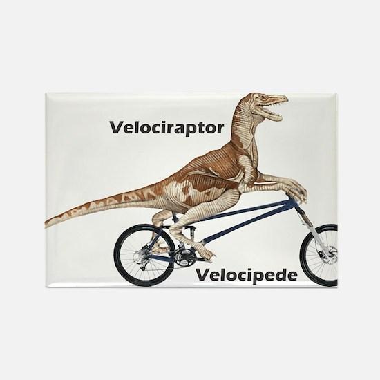 Velociraptor on Bike Rectangle Magnet