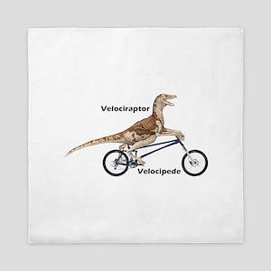 Velociraptor On Bike Queen Duvet