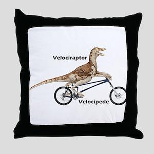 Velociraptor on Bike Throw Pillow
