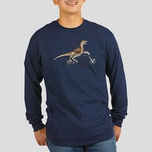 Velociraptor On Bike Dark Long Sleeve T-Shirt