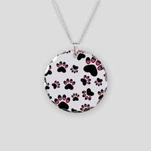 Cute Pink Black Heart Paws Necklace