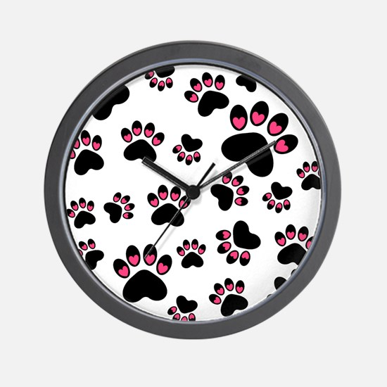 Cute Pink Black Heart Paws Wall Clock
