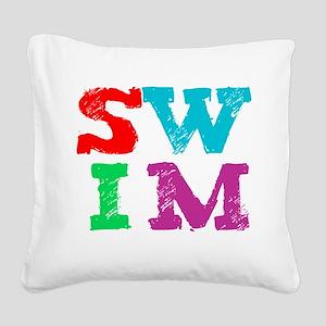 SWIM letters Square Canvas Pillow