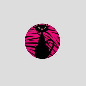 Black Cat Pink Black Zebra Mini Button