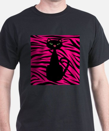 Black Cat Pink Black Zebra T-Shirt