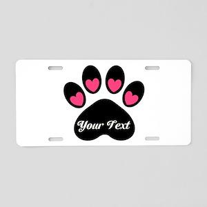 Personalizable Paw Print Aluminum License Plate