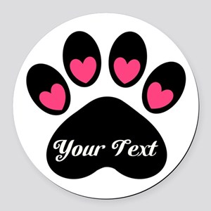 Personalizable Paw Print Round Car Magnet