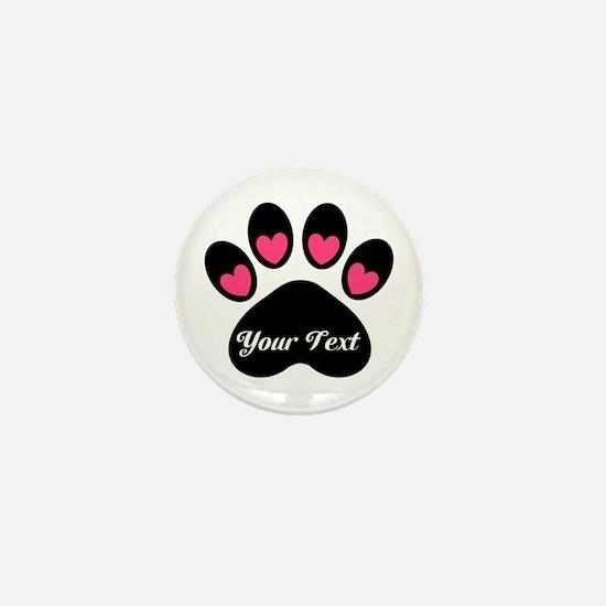 Personalizable Paw Print Mini Button