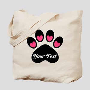 Personalizable Paw Print Tote Bag