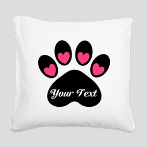 Personalizable Paw Print Square Canvas Pillow