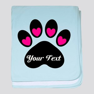 Personalizable Paw Print baby blanket