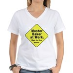 Master Baker- Bun in Oven! Women's V-Neck T-Shirt
