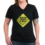 Master Baker- Bun in Oven! Women's V-Neck Dark T-S