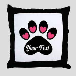 Personalizable Paw Print Pink Throw Pillow