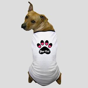 Personalizable Paw Print Pink Dog T-Shirt