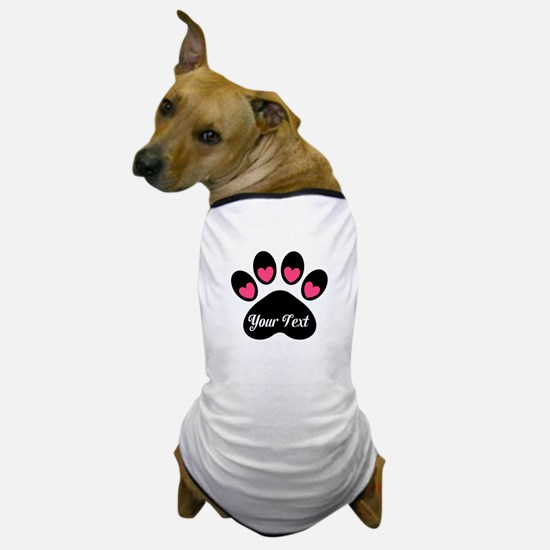 Personalizable Paw Print Pink Dog T-Shirt