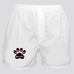 Personalizable Paw Print Pink Boxer Shorts