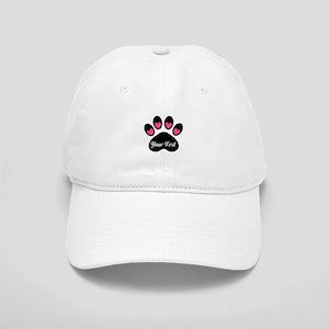 Personalizable Paw Print Pink Baseball Cap