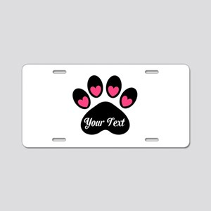 Personalizable Paw Print Pink Aluminum License Pla