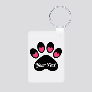 Personalizable Paw Print Pink Keychains
