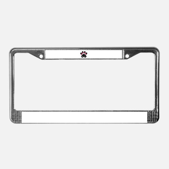 Personalizable Paw Print Pink License Plate Frame