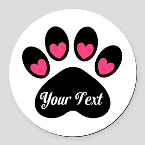 Personalizable Paw Print Pink Round Car Magnet