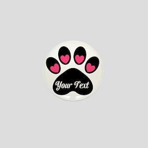 Personalizable Paw Print Pink Mini Button