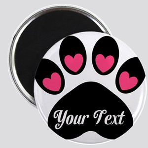 Personalizable Paw Print Pink Magnets