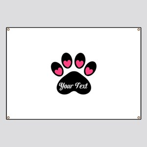 Personalizable Paw Print Pink Banner